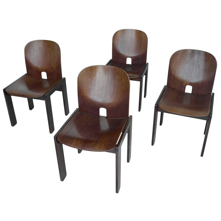 Set of Four 121 Walnut Dining Chairs by Afra & Tobia Scarpa for Cassina