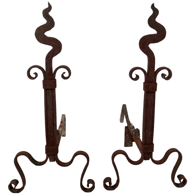 Pair of Arts and Crafts Period Wrought Iron Andirons For Sale