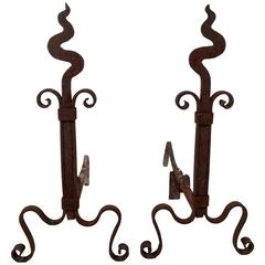 Pair of Arts and Crafts Period Wrought Iron Andirons