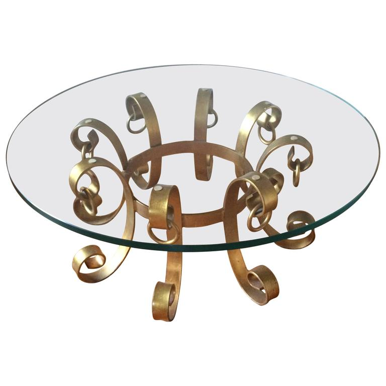 Hollywood Regency Gilt Iron Coffee Table For Sale