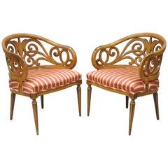 Pair of Vintage Barrel Back Hollywood Regency Bellflower Spiral Carved Chairs