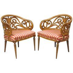 Pair of Whimsical Loop Barrel Back Hollywood Regency Walnut Lounge Armchairs