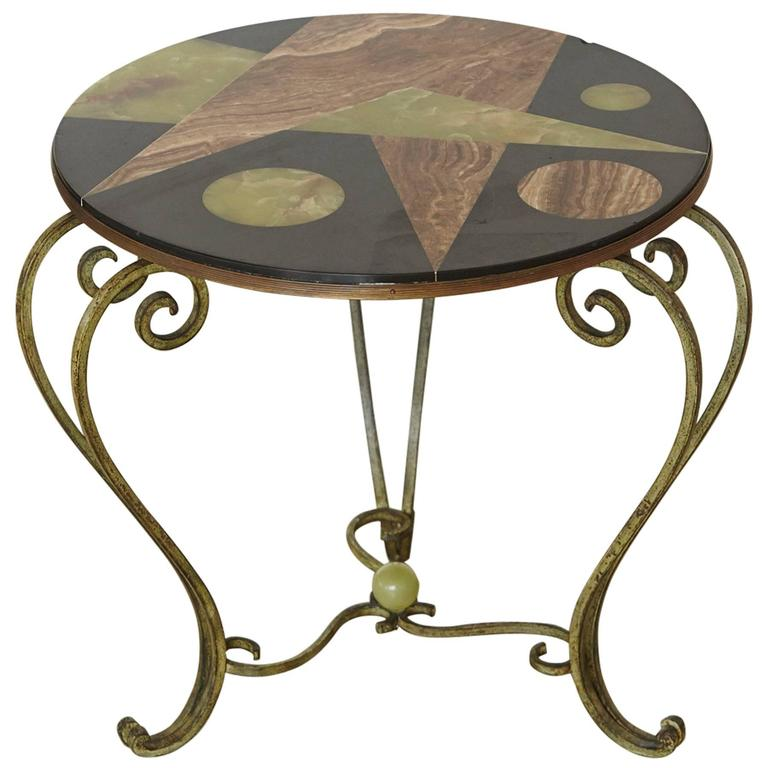 Wrought Iron Side Table With Black Marble Top Geometric Inlays Circa 1940s For