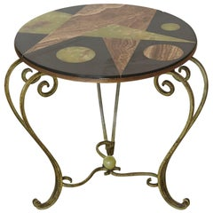 Wrought Iron Side Table with Black Marble Top and Geometric Inlays, circa 1940s