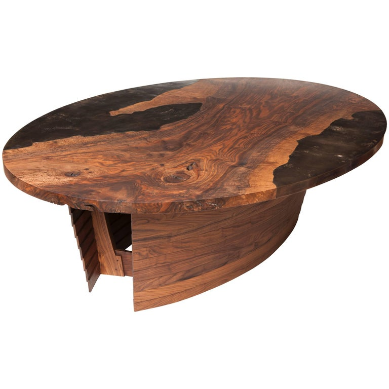 Modern Bronze and Bastogne Walnut Oval Dining Table with Curved Shiplapped Base For Sale