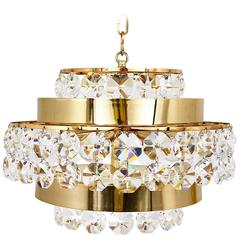 Gold-Plated Bakalowits Brass Chandelier with Diamond Crystals, Austria, 1970s