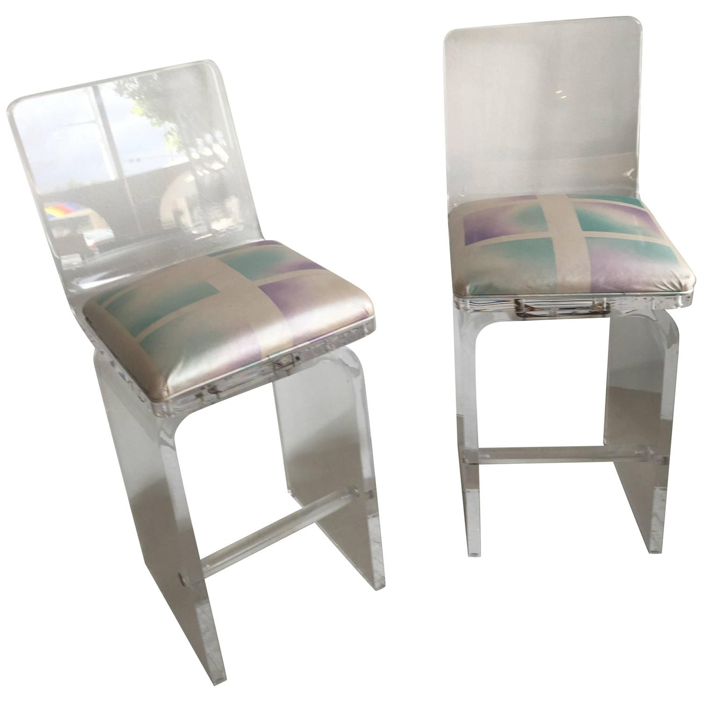 Pair lucite bar stools counter waterfall Charles Hollis jones vintage ...