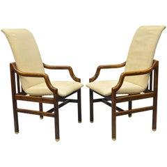 Pair Henredon Mid Century Modern Oak & Brass Dining Arm Chairs After James Mont