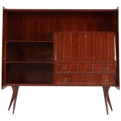 Vittorio Dassi Italian Lacquered Rosewood Sideboard or Bar, circa 1950