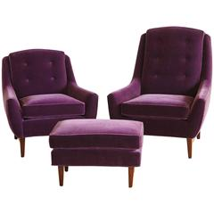 Pair of Adrian Pearsall His and Hers Lounge Chairs and Ottoman in Purple Velvet