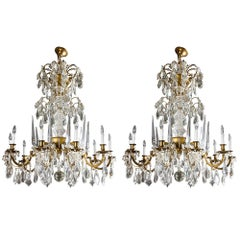 Important Pair of Crystal Chandeliers by Maison Baguès