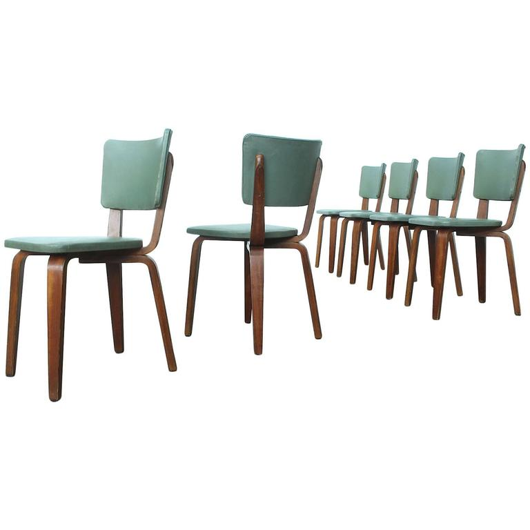 Rare Set of Six Plywood Dining Chairs by Cor Alons for Gouda Den Boer