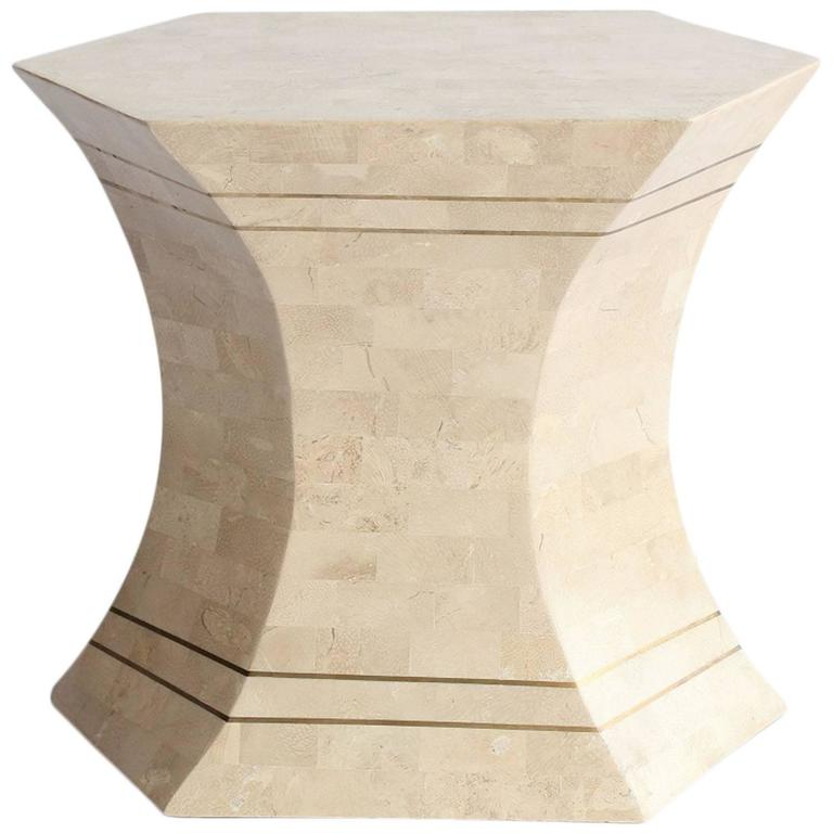 Modern Tessellated Stone and Brass Accent or Side Table by Maitland Smith