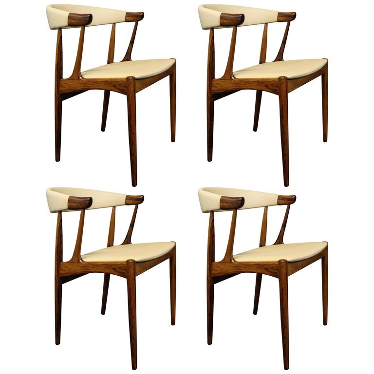 Four Johannes Andersen Danish Modern Rosewood And Leather Dining Chairs For