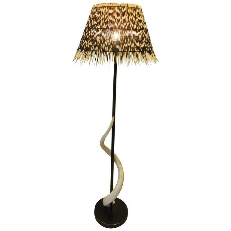 Impala Horn and Porcupine Floor Lamp, circa 1980s 1
