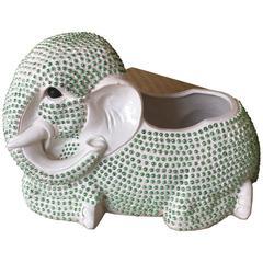 Hobnail Green Elephant Planter Palm Beach Ceramic Plant Pot Hollywood Regency