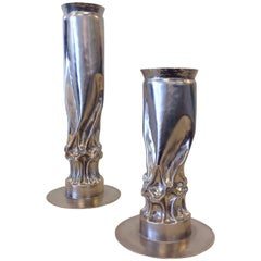 Pair of Brutalist Nickel Candle Holders by Thomas Roy Markusen