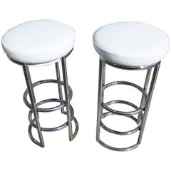 Pair of Art Deco Chrome and Leather Barstools