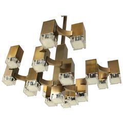 Pristine Sciolari 17 Cubic  Lacquered  Brass Chandelier , 1970s , Italia