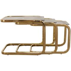 Set of Three Brass and Glass Nesting Tables by Milo Baughman