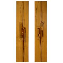 Marcello Siard Set of Two Wooden Wall Panels
