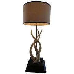 White Impala Horn Table Lamp