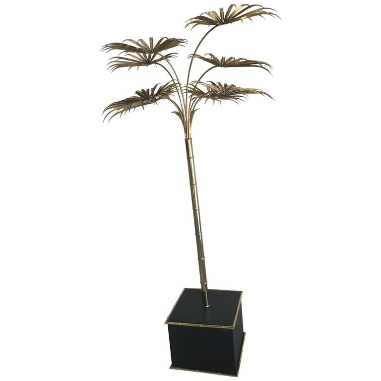 Italian Gold Palm Tree Metal Faux Bamboo Plant Brass Pot Statue Palm Beach