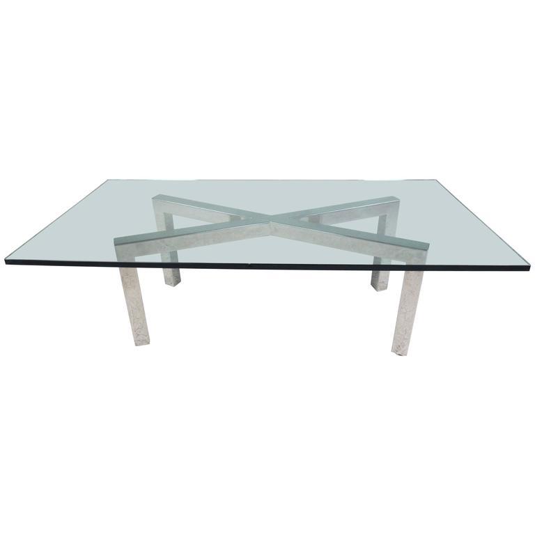 Chrome X Frame Coffee Table: Triple X-Base Mid Century Modern Chrome And Glass Coffee