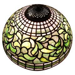 Tiffany Studios New York 1445 Swirling Leaf Table Lamp Shade, circa 1910