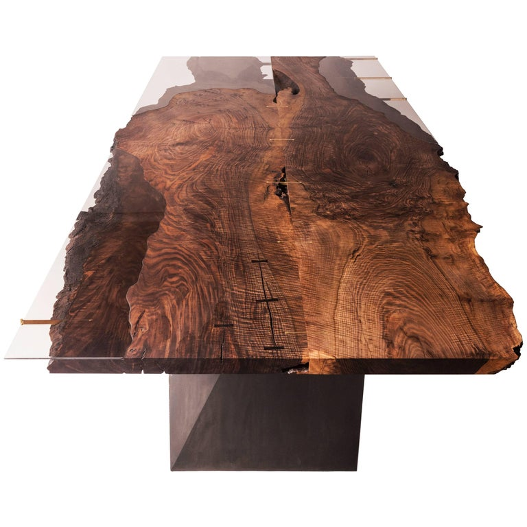 Modern Live Edge Bastogne Walnut and Glass Dining Table on Blackened Steel Base For Sale