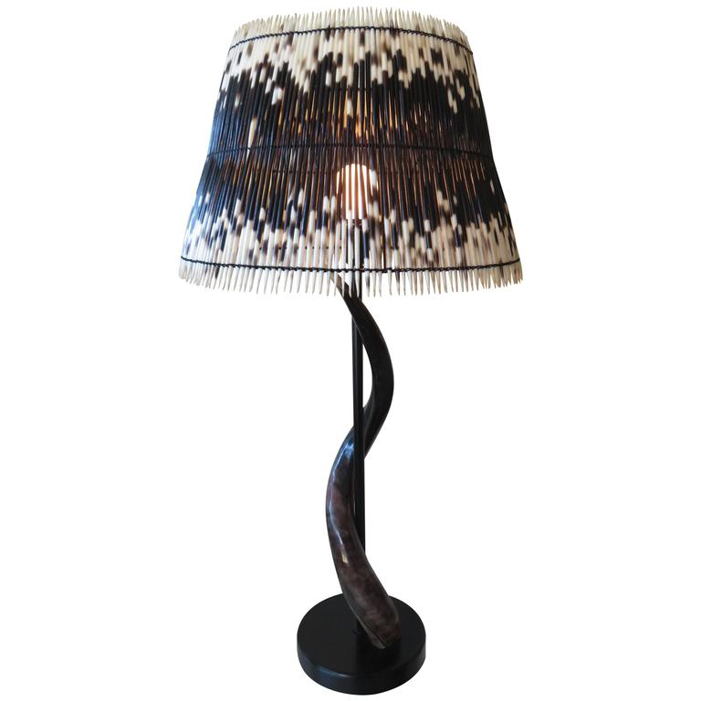 Impala Horn and Porcupine Quill Table Lamp For Sale