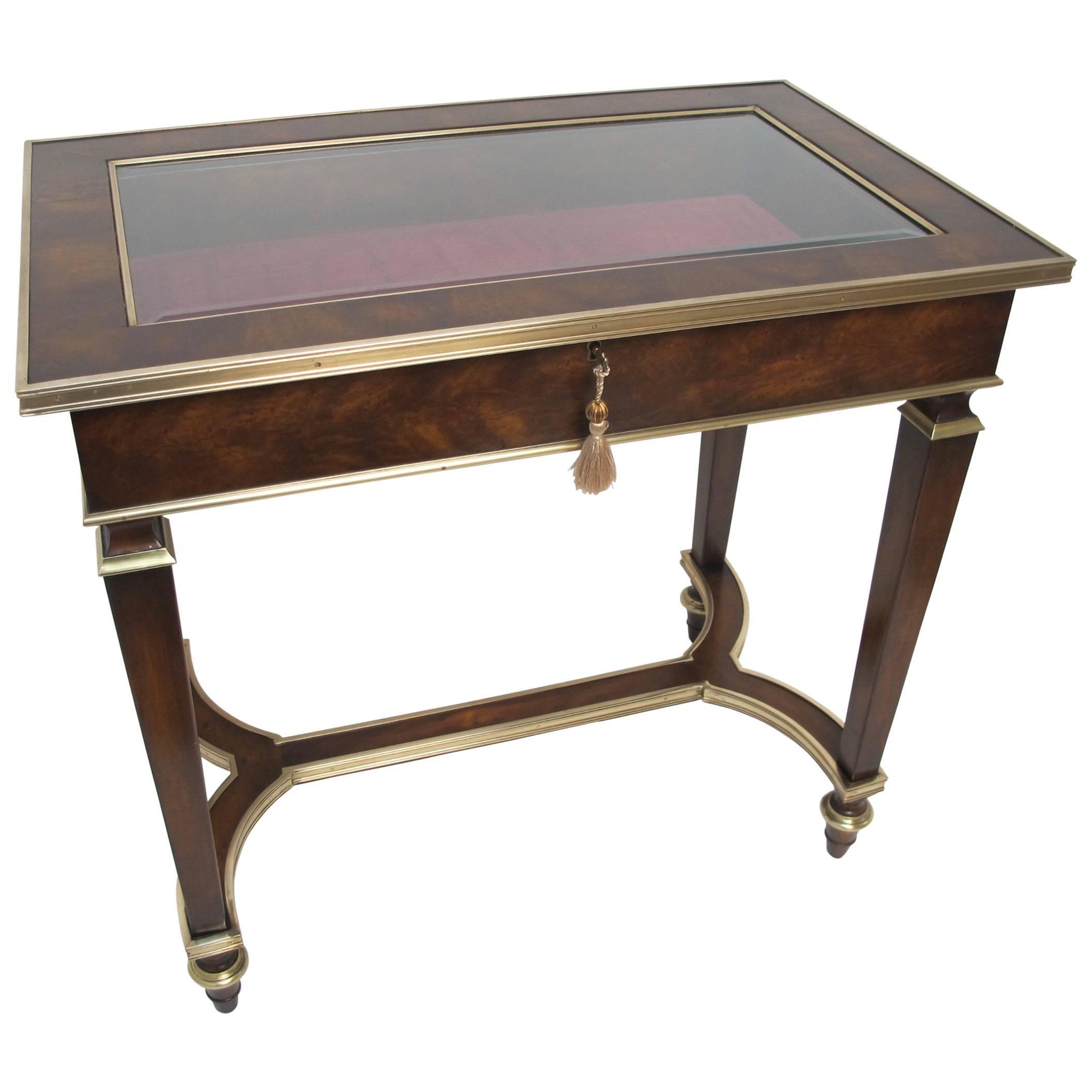 English Mahogany and Bronze Vitrine Table