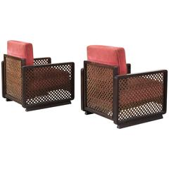 Pair of 'Woven' Italian Lounge Chairs with Red Upholstery