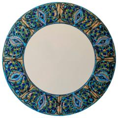 Bodil Eje, Unique Danish Turquoise, Green and Blue Enamel Bijoux Mirror