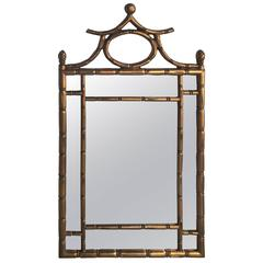 gilded faux bamboo chinoiserie trumeau mirror faux - Bamboo Mirror