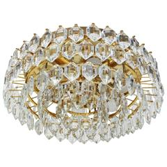 Bakalowits Flush Mount, Brass and Crystal Glass, Austria, 1960s
