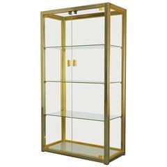 Italian Glass/Brass/Chrome Display Cabinet by Renato Zevi, Rizzo/Rega