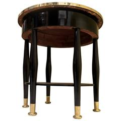 Adolf Loos Round Black Shellac and Brass Austrian Art Nouveau Side Table