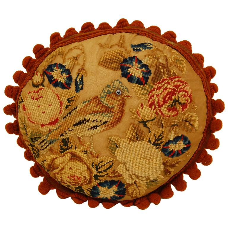 Victorian Needlepoint of Bird and Flowers Mounted as a Pillow