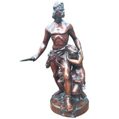 One of a Kind Antique Carved Wood Group Statue Sculpture by Emile Boisseau