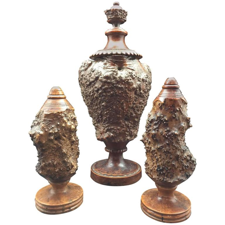 Burr or Burl Wood 19th Century European Garniture Set of Three Turned Jars 1