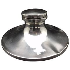 Sterling Silver Yacht Inkwell, Made in England in 1928 by Mappin and Webb
