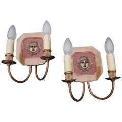 Hollywood Maison Charles Pair of French Bronze Sculpture Wall Sconces