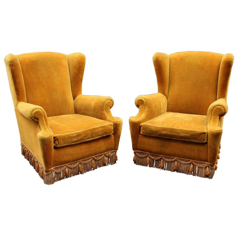 Italian Pair of High Wing Back Chairs For Sale