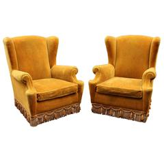 Italian Pair of High Wing Back Chairs