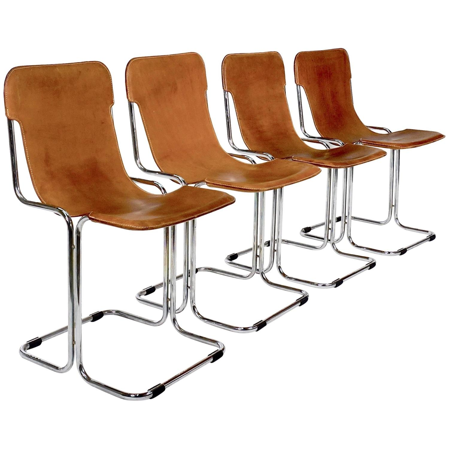 Klismos chair drawing - Set Of Four Chromed Tubular Metal Chairs With Slung Leather Seats