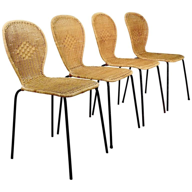 Set of Four Wicker and Metal Side Chairs