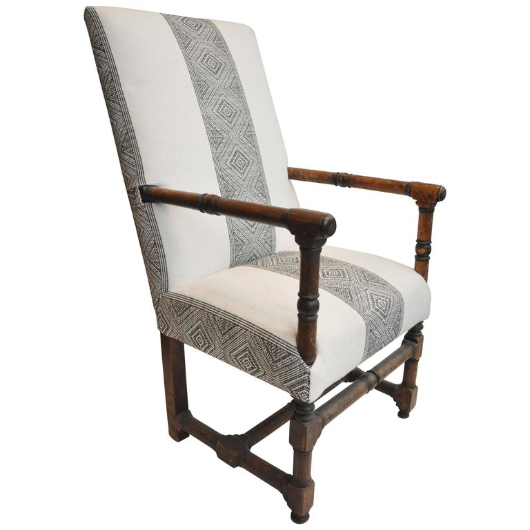 Incroyable 17th Century, Primitive Classic French Armchair   Wooden   Reupholstered  For Sale