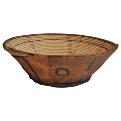 19th Century Large Handwoven and Leather Basket from Yeman/Saudi Boarder