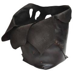 21st Century Large Studded Leather Vessel by Marla Wallerstein